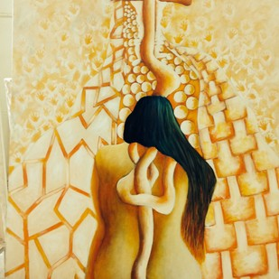 Thoughts by Anita trehan, Fantasy Painting, Oil & Acrylic on Canvas, Beige color