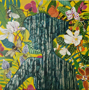 Natures Bouquet by Surabhi Gaikwad Uzgare, Art Deco Painting, Oil on Canvas, Green color