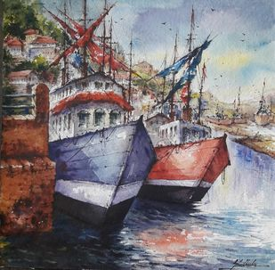 The Rest by Shubhashis Mandal, Impressionism Painting, Watercolor on Paper, Brown color