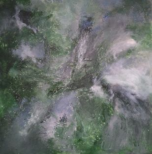Gaia by Rinden, Abstract Painting, Acrylic on Canvas, Gray color
