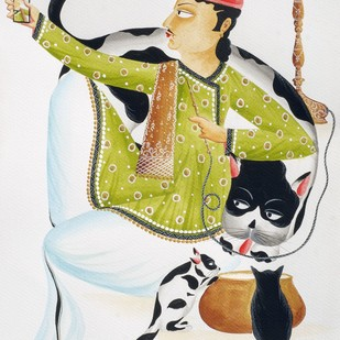 Babu taking 'selfie' with Cat by Bhaskar Chitrakar, Folk Painting, Natural colours on paper, Gray color