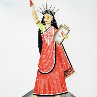 Liberty by Bhaskar Chitrakar, Folk Painting, Natural colours on paper, Gray color