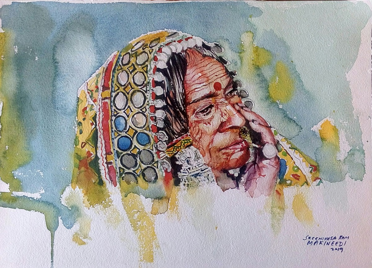 Portrait of a lambadi woman by Sreenivasa Ram Makineedi, Impressionism Painting, Watercolor on Paper, Brown color