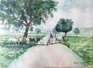 Village scene by Sreenivasa Ram Makineedi, Impressionism Painting, Watercolor on Paper, Green color
