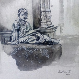 Vintage princess by Sreenivasa Ram Makineedi, Illustration Painting, Acrylic on Canvas, Gray color