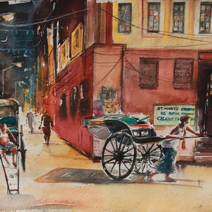Calcutta Nostalgia -Ripon Street Evenings by Avanish Trivedi, Impressionism Painting, Watercolor on Paper, Brown color