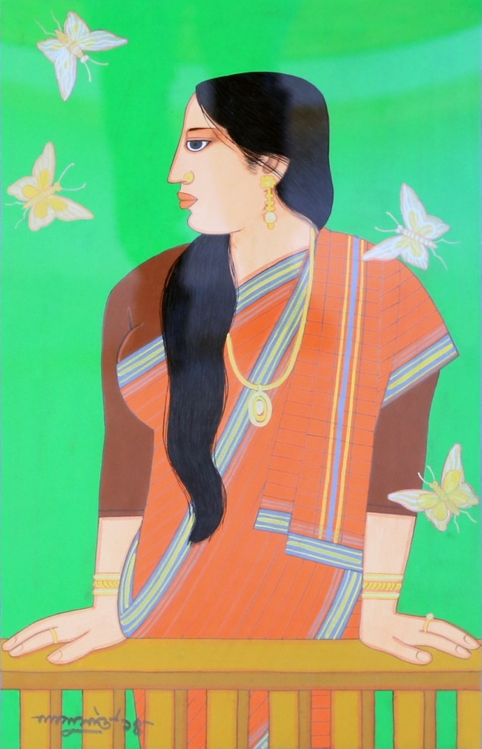 woman by Lalu Prasad Shaw, Expressionism Painting, Tempera on Paper, Green color