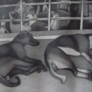 Untitled by Kalipada Purkait, Illustration Painting, Pencil on Paper, Gray color