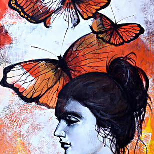 She_09 by Kishore Pratim Biswas, Expressionism Painting, Acrylic on Canvas, Brown color