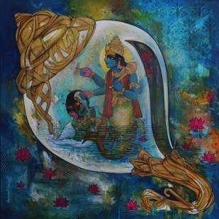 Panchajanyam-19 by Rajeshwar Nyalapalli, Expressionism Painting, Acrylic on Canvas, Green color
