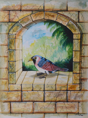 Bird Painting 81 by santosh patil, Decorative Painting, Watercolor on Paper, Brown color