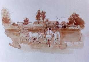 Farmer by Sreenivasa Ram Makineedi, Impressionism Painting, Watercolor on Paper, Pink color