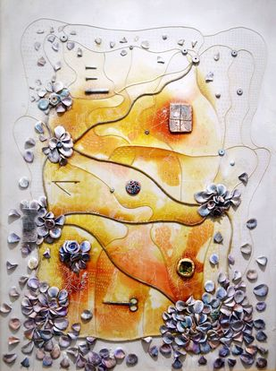 """Septum"" by Viraag Desai, Abstract Painting, Mixed Media on Canvas, Gray color"