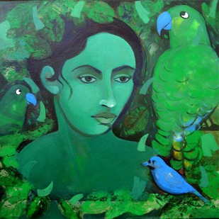 with nature by Shivani Soni , Expressionism Painting, Acrylic on Canvas, Green color