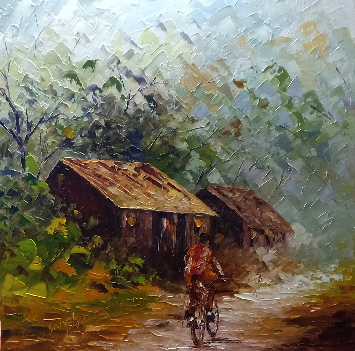 monsoon by Ganesh Panda, Expressionism Painting, Oil on Canvas, Brown color
