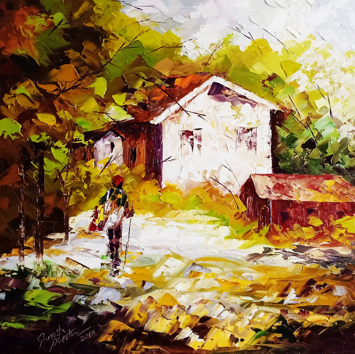 my home by Ganesh Panda, Expressionism Painting, Oil on Canvas, Brown color