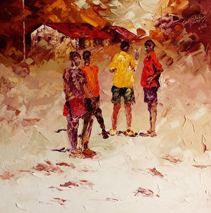 play time by Ganesh Panda, Expressionism Painting, Oil on Canvas, Brown color