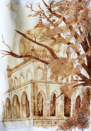 HYD Diary_48 by Debabrata Biswas, Impressionism Drawing, Ink on Paper, Beige color