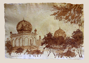 HYD Diary_32 by Debabrata Biswas, Impressionism Drawing, Pen & Ink on Paper, Beige color