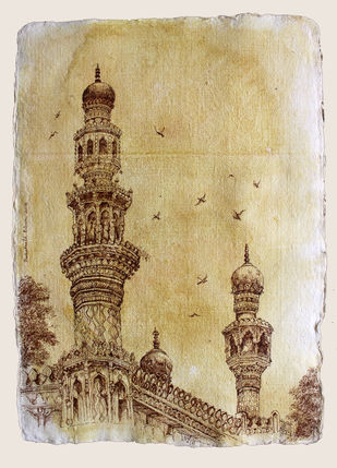 HYD Diary_14 by Debabrata Biswas, Impressionism Drawing, Pen & Ink on Paper, Beige color