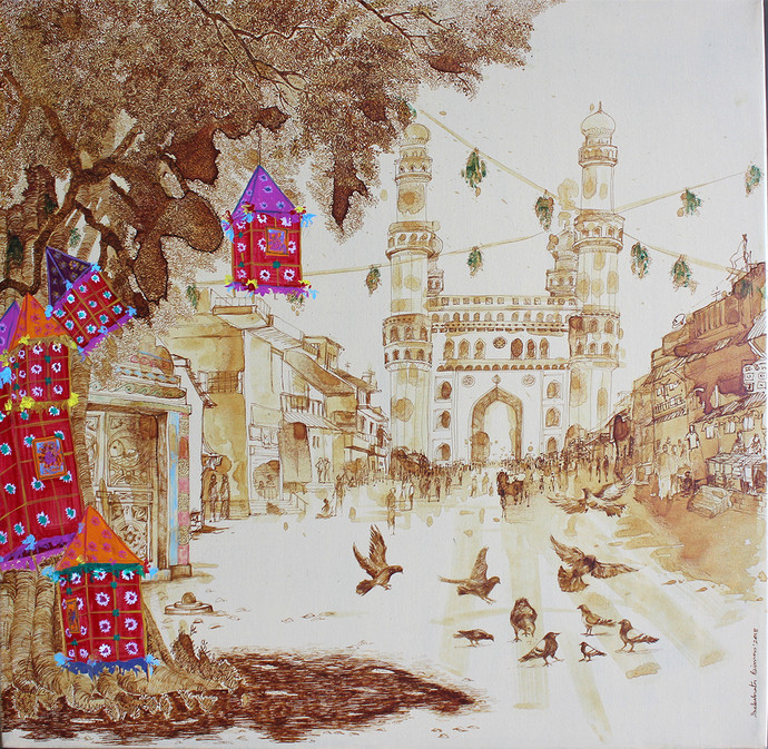 HYD Diary_30 by Debabrata Biswas, Impressionism Painting, Acrylic & Ink on Canvas, Beige color