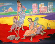 HYD Diary_11 by Debabrata Biswas, Impressionism Painting, Mixed Media on Canvas, Brown color