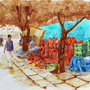 HYD Life_04 by Debabrata Biswas, Impressionism Painting, Mixed Media on Paper, Brown color