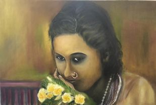 """""""Champa by Rajshree Mishra, Expressionism Painting, Oil on Canvas, Brown color"""