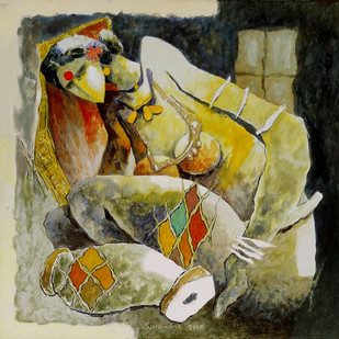 untiteld by Surendra Pal Singh, Expressionism Painting, Acrylic on Canvas, Beige color