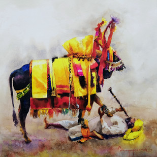 Gangireddu with Master by Jeyaprakash M, Expressionism Painting, Watercolor on Paper, Brown color