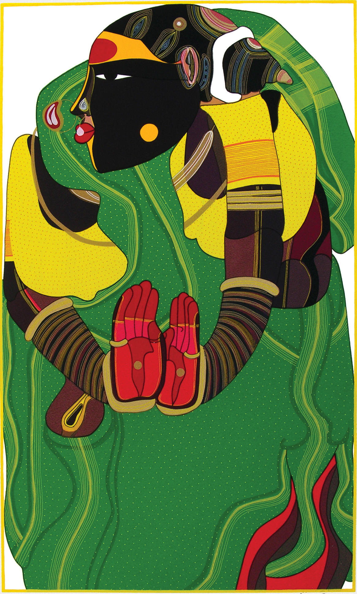Untitled by Thota Vaikuntam, Expressionism Printmaking, Serigraph on Paper, Green color