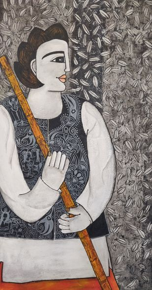 Charvaha by Nandini, Expressionism Painting, Acrylic on Canvas, Gray color