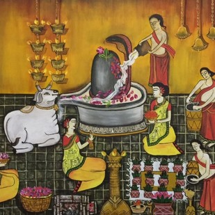 shiv temple by Nandini, Expressionism Painting, Acrylic on Canvas, Brown color