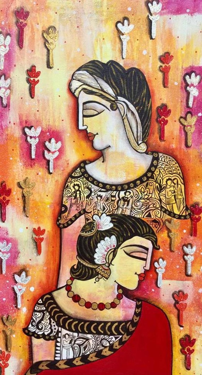 lovers by Nandini, Decorative Painting, Acrylic on Canvas, Brown color