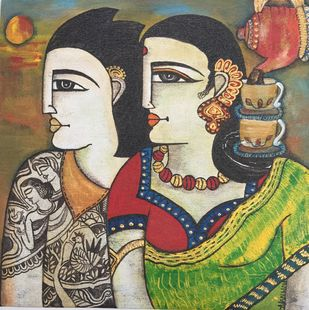 Morning Tea Together by Nandini, Expressionism Painting, Acrylic on Canvas, Brown color