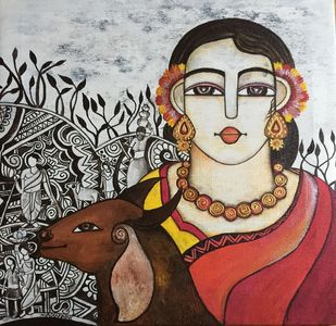 lady with goat by Nandini, Expressionism Painting, Acrylic on Canvas, Gray color