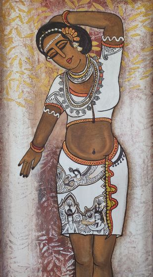 tribal lady by Nandini, Expressionism Painting, Acrylic on Canvas, Brown color