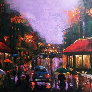 Rainy day 6 by Arjun das, Expressionism Painting, Acrylic on Canvas, Brown color