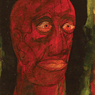 "Head III, Mixed Media on Board, Red, Green, Brown by Indian Artist ""In Stock"" by Sunil Das, Expressionism Painting, Mixed Media on Board, Brown color"