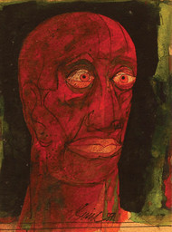 """Head III, Mixed Media on Board, Red, Green, Brown by Indian Artist """"In Stock"""" by Sunil Das, Expressionism Painting, Mixed Media on Board, Brown color"""