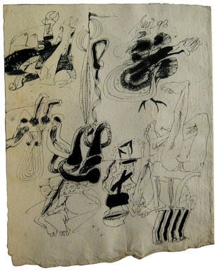 "Drawings, Ink on Thick Paper, Black, White by Modern Indian Artist ""In Stock"" by Sunil Das, Illustration Drawing, Ink on Paper, Beige color"