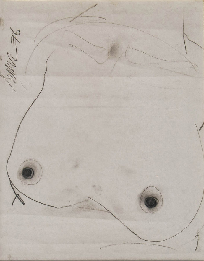 """Nude Drawing, Charcoal on Paper by PadmaShree Artist Sunil Das """"In Stock"""" by Sunil Das, Illustration Drawing, Charcoal on Paper, Beige color"""