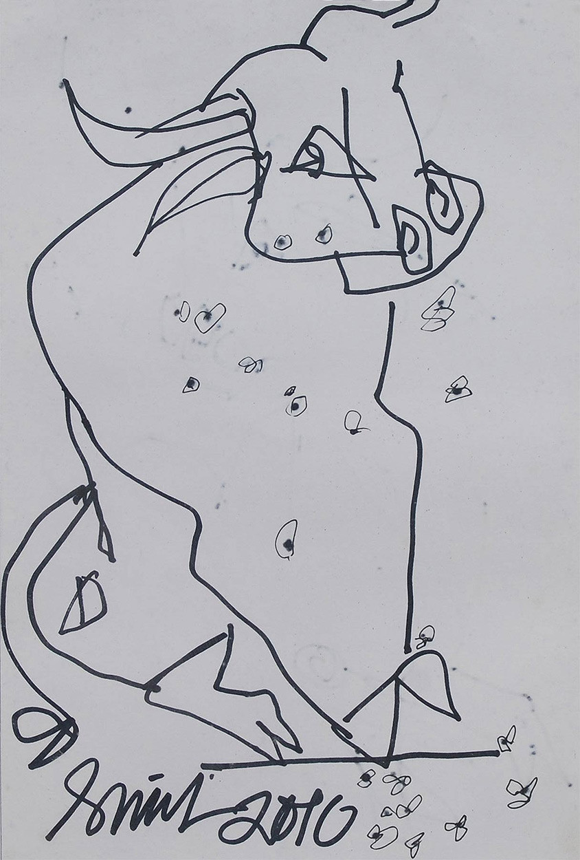 """Bull, Inspired by the Spain Bull Fighting, Ink on paper, Black, White """"In Stock"""" by Sunil Das, Illustration Drawing, Pen on Paper, Gray color"""