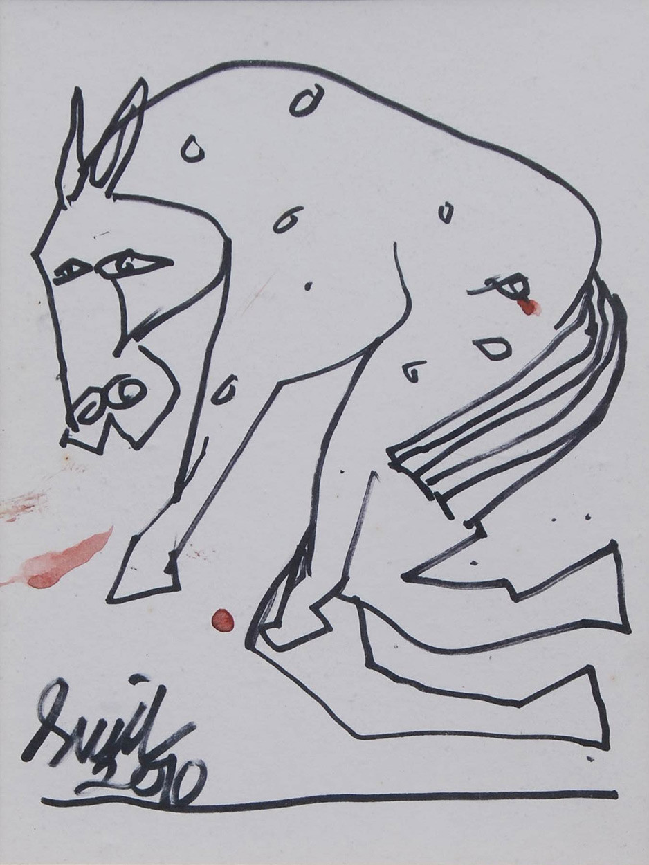 Horse by Sunil Das, Illustration Drawing, Ink on Paper, Gray color