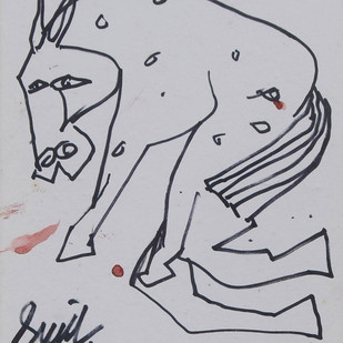 "Horse, Pen & Ink on Paper, Black & White by Modern Indian Artist ""In Stock"" by Sunil Das, Illustration Drawing, Ink on Paper, Gray color"