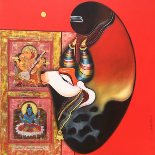 Nandi by Ashok Rathod, Traditional Painting, Acrylic on Canvas, Brown color