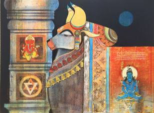 Nandi 2 by Ashok Rathod, Traditional Painting, Acrylic on Canvas, Brown color