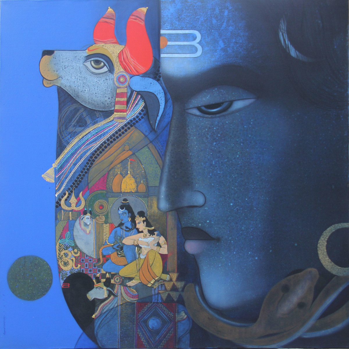Lord Shiva With Nandi by Ashok Rathod, Traditional Painting, Acrylic on Canvas, Blue color