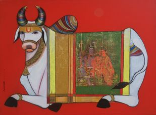 Nandi 3 by Ashok Rathod, Expressionism Painting, Acrylic on Canvas, Brown color
