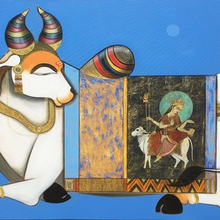 Nandi 4 by Ashok Rathod, Traditional Painting, Acrylic on Canvas, Blue color